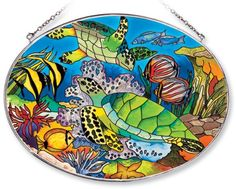 Amia Oval Suncatcher with Turtle and Tropical Fish Design Hand Painted Glass 612Inch by 9Inch >>> Details can be found by clicking on the image.
