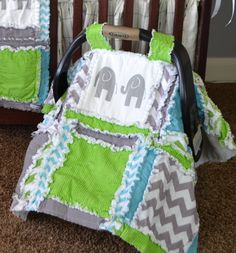 Car Seat Tent, Elephant, Chevron, and Polka Dot in Lime Green, Gray, and Blue for Baby Boy