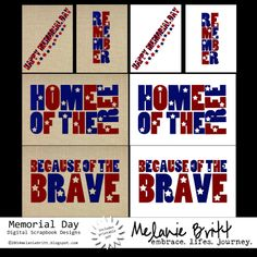 Free Memorial Day Filler Cards for Project Life. Four 3x4 cards. Four 4x6 cards. #projectlife #digitalprojectlife
