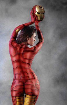 Amazing Ironman Bodypaint Costume Back