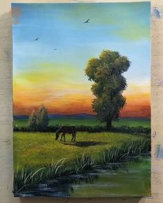 20 Home Decor Painting Inspirations Painting Tutorial Videos Part 9 Canvas Painting Tutorials, Painting Videos, Painting Techniques, Horse Canvas Painting, Canvas Art, Home Decor Paintings, Easy Paintings, Landscape Paintings, Art Sur Toile