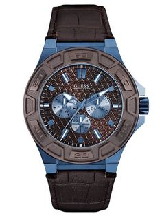 [GUESS] Force Multi Function Leather Strap Wrist Men's Watch + Free EMS in Jewelry & Watches, Watches, Parts & Accessories, Wristwatches Seiko Diver, Sport Watches, Watches For Men, Guess Watches, Men's Watches, Wrist Watches, Modelos Guess, Brown Leather Strap Watch, Bracelet Cuir