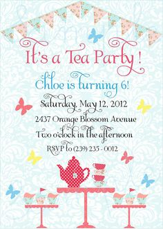 Shabby Chic Tea Party Birthday Invitation & by twinklelittleparty, $18.00