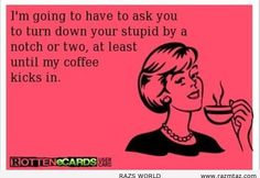 I'm going to have to ask you to turn down your stupid by a notch or two at least until my coffee kicks in. I totally agree! Coffee Quotes, Coffee Humor, Funny Coffee, Black Rifle Coffee Company, Me Quotes, Funny Quotes, I Love Coffee, Coffee Talk, Coffee Coffee