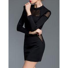 Black Crew Neck Sheer Combo Sheath Dress ❤ liked on Polyvore featuring dresses, transparent dress, sheer dress, crew dresses, sheath dress and crew neck dress