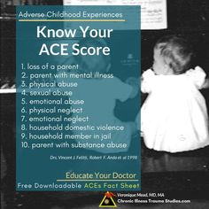 Know your ACE score; learn about the links between chronic illness and adverse childhood experiences and gain new tools for treatment of #asthma #autoimmune #me/cfs #asthma #me/cfs #fibromyalgia #MS #IBD #IBS #trauma #chronicdisease #diabetes #fatigue #depression #PTSD
