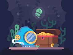 Under the Sea by Laura Reen #Design Popular #Dribbble #shots