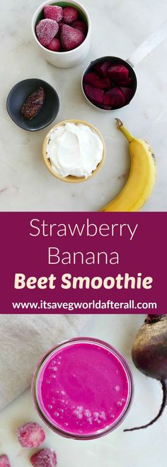 This colorful smoothie is full of nutritious ingredients, including strawberries, bananas, beets, and Greek yogurt. It's filling, high in protein, and super healthy. #smoothie #beets