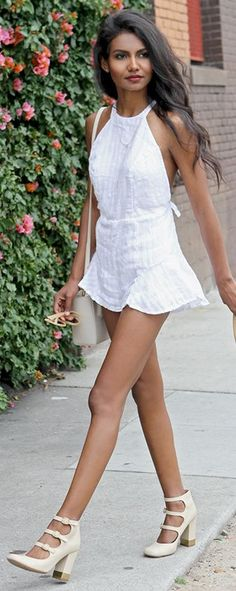White Girly Romper by Tuolomee