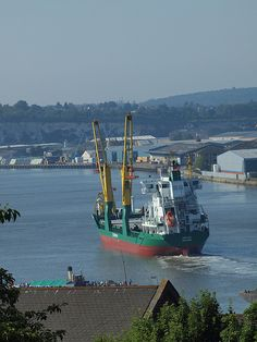 A ship heading up the medway at Rochester
