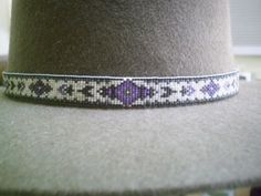 Purple Tapestry beaded hat band, Native American style beaded hat band | ajwhatbands - Accessories on ArtFire