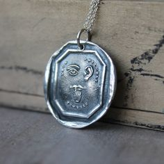 Rebus-see no evil,hear no evil and speak no evil wax seal impression fine silver pendant sterling silver necklace by ALMrozarka on Etsy Silver Charms, Sterling Silver Necklaces, Silver Jewelry, Unique Jewelry, Antique Wax, Valentines Day Gifts For Him, Wax Seals, Gifts For Wife, Pure Products