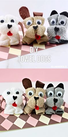DIY Towel Dog : How to Make a Towel Dog. Cute no sew craft for kids to make their own towel stuffed animal! How to make a towel dog. These cuddly and cute DIY Towel Dogs are so simple and fun for kids to make with one small wash towel and no sewing! Animal Crafts For Kids, Dog Crafts, Diy Crafts For Gifts, Crafts For Kids To Make, Easy Diy Crafts, Kids Crafts, How To Craft, Best Gifts For Kids, Diy Arts And Crafts