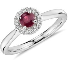 Blue Nile Round Ruby Diamond Pav Halo Ring ($660) ❤ liked on Polyvore featuring jewelry, rings, ruby diamond ring, 14k ring, blue nile rings, diamond jewellery and round cut rings