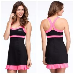 Bebe colorblock Tennis Dress❤️❤️ Pretty in pink!!! Soft and lightweight be-fit fabric. This Bebe tennis dress features a ruffled hemline and a raceback cut that allows for more movement. 77% nylon,23%spandex. New be-fit fabric. Built-in bust support.  bebe Dresses Mini
