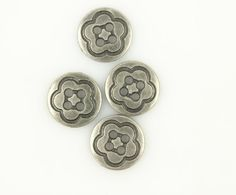 Metal Buttons  Simple Flower Carving Metal Hole by Buttonova, $3.00