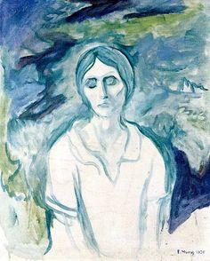 The Athenaeum - The Gothic Girl Edvard Munch - 1924 Edvard Munch, Franz Marc, Kunst Online, Amedeo Modigliani, Post Impressionism, Art Graphique, Wassily Kandinsky, Gothic Girls, Oeuvre D'art