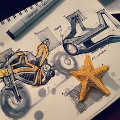 Finally Back! Been very busy lately, and spending as much time as I can with friends and family. It's great to be back home and to have a minute to sketch. A street bike inspired by the humble starfish. It's amazing how these creatures can re-grow limbs that have been injured. What if it was possible to have a modular bike frame that surrounds the bikes key components. In the event of an accident the frame will distribute the force more evenly and can be easily swapped out in sections to…