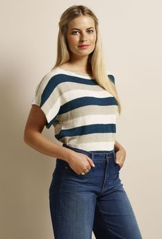 Free knitting pattern for a cute stripe top! This stripy cover-up is perfect to throw on for cool summer evenings. Plus it's simple enough to knit in a weekend