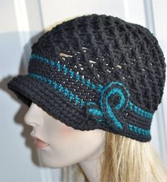 Ovarian Cancer Teal Blue, or melanoma cancer Black. cancer patient hats, cancer beanies, turbans for cancer patients, cancer head wraps, hats for chemo , Any hat is customizable . Support cancer awareness with this crochet cancer hat. You can find them in my ETSY shop.
