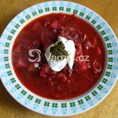 Klasický ruský boršč recept - Vareni.cz Czech Recipes, Ethnic Recipes, Ukrainian Recipes, Ukrainian Food, Thai Red Curry, Chili, Pudding, Treats, Fish