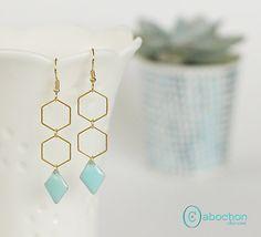 Boucles d'oreilles, collection Géométrique, émail Mint : Boucles d'oreille par cabochon-chic