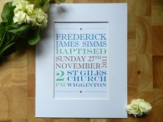 Bespoke Christening / Baptism Keepsake Print by SmartCreative, $20.00