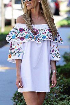 White Layered Design Random Floral Print Off The Shoulder Mini Dress