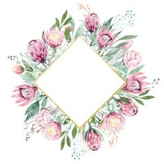 Hand drawing isolated watercolor floral frame with protea rose, leaves, branches and flowers. Elements for greeting wedding card. - Buy this stock illustration and explore similar illustrations at Adobe Stock Watercolor Plants, Floral Watercolor, Florist Logo, Protea Flower, Invitation Background, Paper Crafts Origami, Watercolor Invitations, Watercolor Wedding, Flower Frame