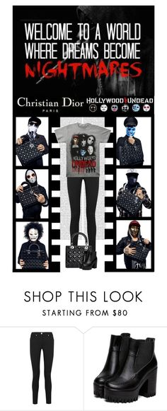 """HOLLYWOOD UNDEAD X DIOR"" by irresistible-livingdeadgirl ❤ liked on Polyvore featuring Christian Dior, Versace, music, Dior, emo, ChristianDior, hollywoodundead, concert, Punk and goth"