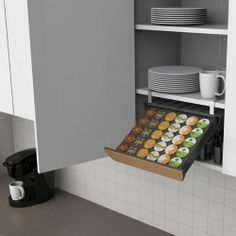This convenient, space-saving single serve coffee pod drawer fits in any cupboard or cabinet or even under it to hold and organize up to 30 of your favorite single serve coffee pods. Drawer swings in and out for easy access. No assembly required. Cupboard Drawers, Cupboard Storage, Storage Drawers, Kitchen Storage, Cabinet, Coffee Pod Storage, Single Serve Coffee, K Cups, Bar Drinks