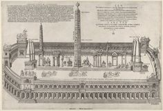 Nicolas Béatrizet, After Pirro Ligorio, Published by Michele Tramezzino (Italian, active Venice and Rome, 1526-61), A reconstruction of the stadium and its obelisks at Circus Maximus, 1553