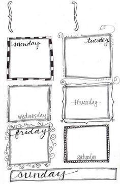 Doodled weekly planner + links to lots of cute free printables
