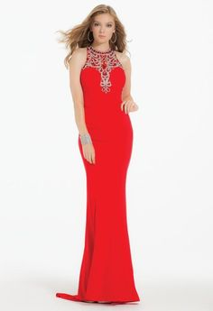 a599e57569a Aliexpress.com   Buy Red O neck Mermaid Long Evening Dresses Shining Satin  Beaded Sleeveless Sweep Train Illusion Backless Party Dress Gowns Hot Sale  from ...