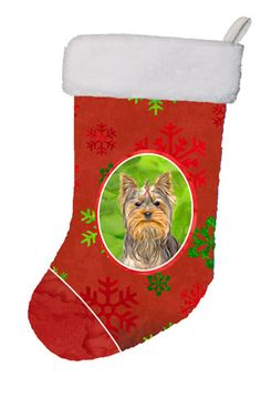 Red Snowflakes Holiday Christmas Yorkie / Yorkshire Terrier Christmas Stocking KJ1184CS