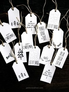 Add a personalized touch to every gift with these playful black and white holiday tags. Get the tutorial at Gather & Feast.