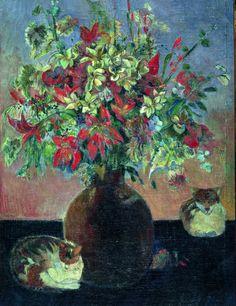 Fiori e gatti - Paul Gauguin