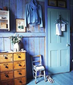 I love blue, but isn't it amazing how the warm wood dresser energizes this room.