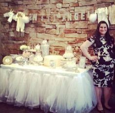 White, silver, and gold angel theme baby shower candy table. dessert station. Bouboulinaevents https://www.facebook.com/bouboulina.bouboulinaevents