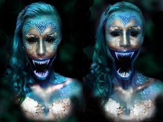 Dive under the sea for 15 frightening and seductive mermaids to inspire your scary mermaid makeup and scary mermaid costume this Halloween! Halloween Kostüm, Halloween Face Makeup, Halloween Mermaid, Dragon Halloween, Halloween Inspo, Scary Mermaid, Mermaid Zombie, Realistic Mermaid, Mermaid Diy