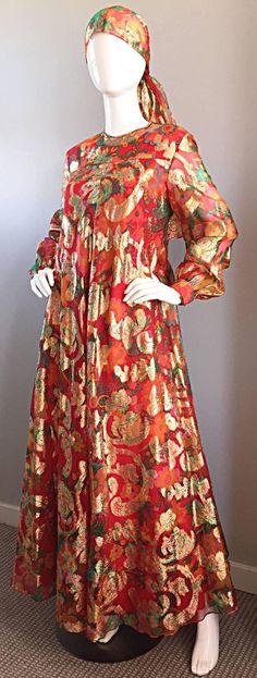 Vintage Dresses Important Vintage Oscar de la Renta Silk Gown w/ Head Scarf/ Belt 5 - 1969 Fashion, Sixties Fashion, Retro Fashion, Vintage Fashion, Vintage Dresses 1960s, Vintage Wear, Mode Vintage, Mod Girl, Mexican Fashion