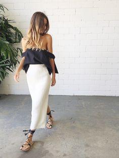 Kitx Crushed Linen Basic Skirt- White | Shop Online at Splice Boutique