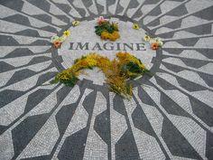 John Lennon memorial Strawberry Fields, Central Park, New York.