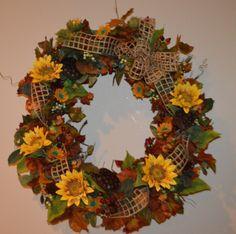 Fall Wreath Harvest Wreath Autumn Wreath Door by TheBloomingWreath Wreaths For Front Door, Door Wreaths, Grapevine Wreath, Thanksgiving Wreaths, Autumn Wreaths, Pumpkin Wreath, Sunflower Wreaths, Fall Wedding Decorations, How To Make Wreaths