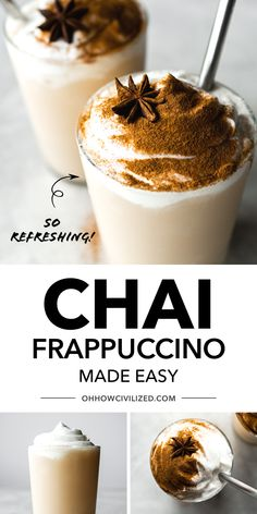 This chai frappuccino from Oh, How Civilized is refreshing, delicious and so easy to make! Chai frappuccino is a frozen drink made easy and delicious at home with just 5 ingredients. Sweet and so refreshing, it makes for a perfect chai tea treat any time! #chai #tea #frozentea #frappuccino Tea Recipes, Fall Recipes, Yummy Drinks, Fancy Drinks, Iced Chai Tea, Frappuccino Recipe, Tea Sandwiches, Frozen Drinks