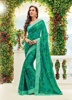 Sea Green Lace Crepe Fancy Printed saree