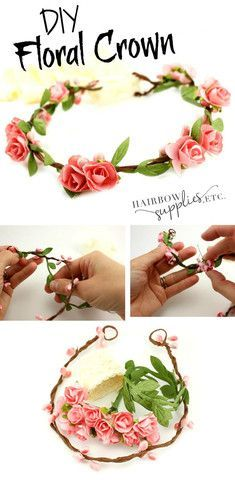 This floral crown tutorial is so lovely and super versatile! This crown can be used for a newborn floral crown as a photo prop, or is fully adjustable to be used as a flower girl DIY flower crown or floral halo in a wedding