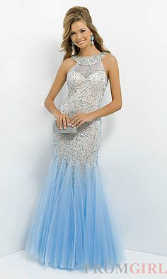 High Neck Open Back Sequin Dress at PromGirl.com
