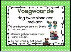Voegwoorde Afrikaans Language, Phonics Chart, Grade 1 Reading, Activities For Boys, First Grade Math, Grade 2, School Posters, School Motivation, School Readiness