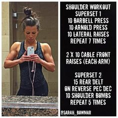 Sarah Bowmar's killer shoulder workout Hiit, Cardio, Killer Shoulder Workout, Shoulder Workout Routine, Body Fitness, Health Fitness, Fitness Expert, Sarah Bowmar, I Work Out